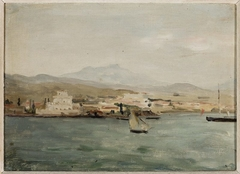 View of the port in Saloniki. From the journey to Palestine