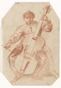 Viola da gamba-speler, en face