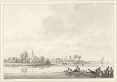 Vissers op de Lek bij het dorp Tuil