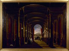 Vue intérieure de l'ancienne gare Saint-Lazare, vers 1845