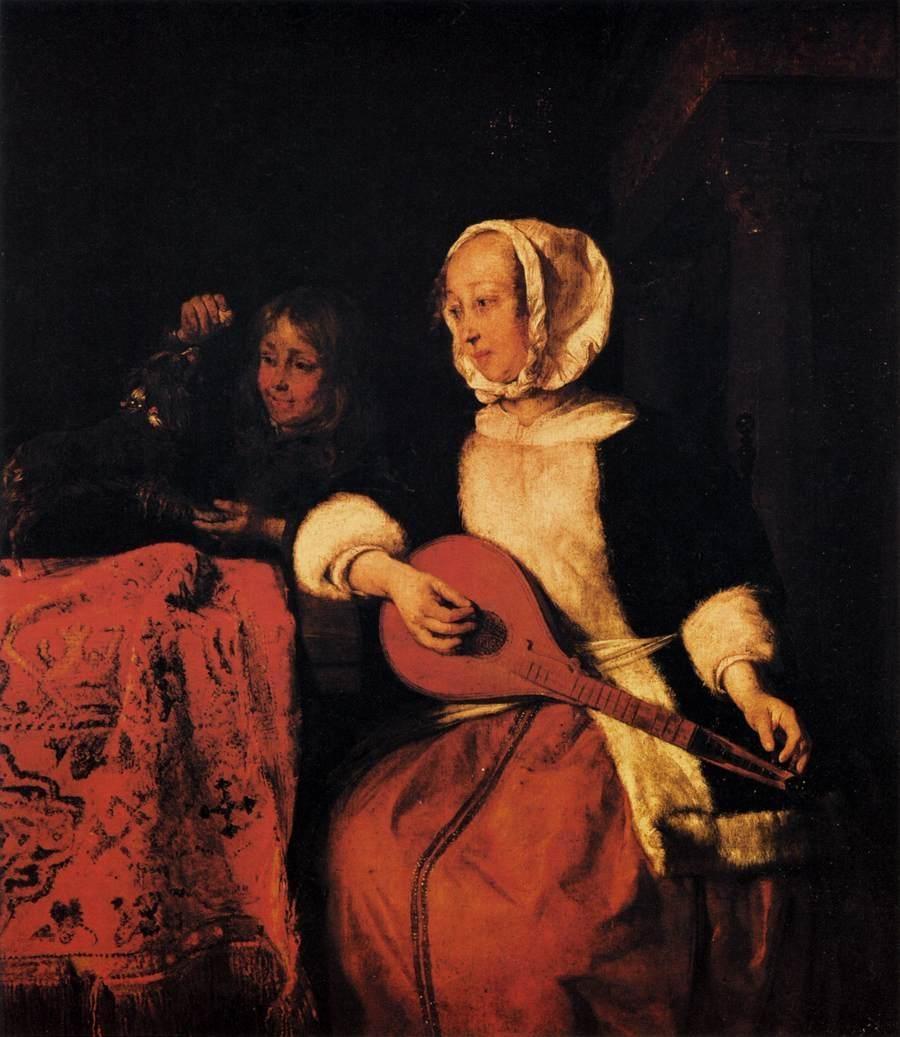 Woman Tuning a Mandolin
