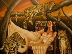 Woman with Leopards