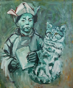 Young Dalai Lama With Wild Cat