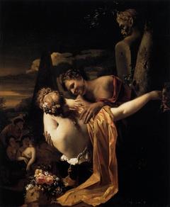 Young shepherd embracing a shepherdess
