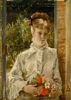 Young Woman in White Holding a Bouquet