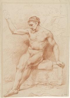 Zittend mannelijk naakt, het hoofd naar links, de rechterarm geheven