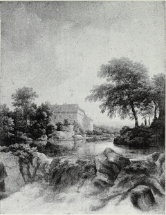 A Cascade, with a farm on the left