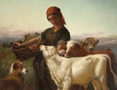 A Farm Girl with Three Calves and 'Silky'
