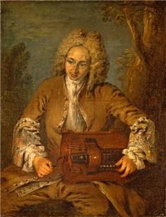 A Man Playing a Hurdy-Gurdy