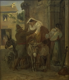 A Stout Roman Woman Being Helped onto a Donkey