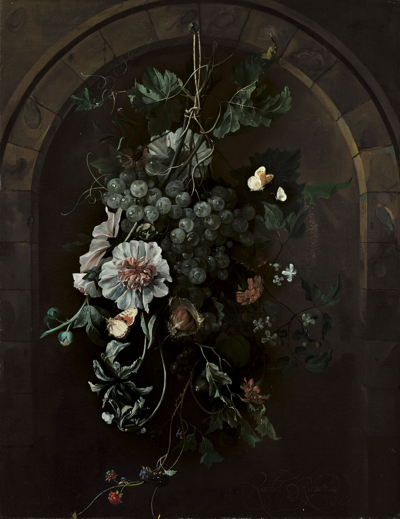 A swag of fruit and flowers suspended before a stone arch
