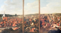 A Triptych of Scenes from the Battle of Blenheim, 1704: (1) The Attack of the Village (2) A Brigade of French Foot Cut Down when abandoned by their Horse (3) Prince Eugene of Savoy attacking the Left