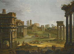 A View of the Forum with the Campo Vaccino, the Church of Santa Francesca Romana and the Colosseum