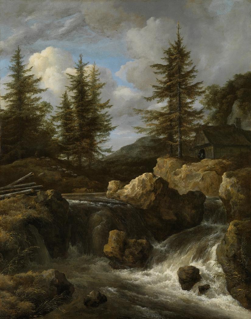 A Waterfall in a Rocky Landscape