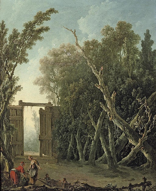 A wooded garden with a gate and figures in the foreground