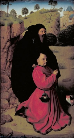 Altar Panel with a Portrait of a Donor in Scarlet and St Anthony