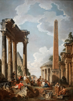 Architectural Capriccio with a Preacher in Roman Ruins