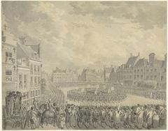 Beëdiging van het College van Gecommitteerden door de schutter-officieren op de Neude te Utrecht, 1786