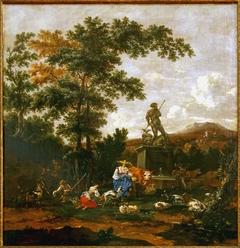Bergers et troupeaux près d'une fontaine avec la statue de Neptune
