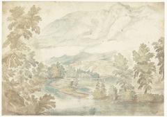 Bocht in een rivier stromend door een dal met hoge bergen