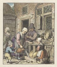 Boerenfamilie bij het voeren van de varkens
