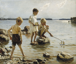 Boys Playing on the Shore (Children Playing on the Shore)