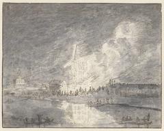 Brand in een molen aan de Muiderdijk, ca. 1710
