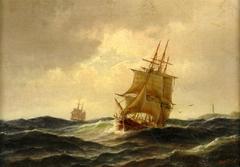 Cargo Sailing Ship off the Coast