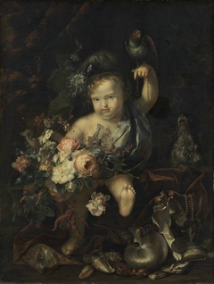 Cherub with Flowers and Parrot