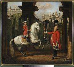 Colonel Königsfels teaching Prince Józef Poniatowski how to ride