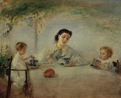 Die Familie des Künstlers beim Frühstück