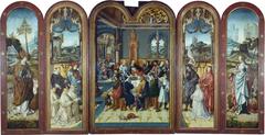 Drieluik met het laatste avondmaal, stichters met heiligen en op de buitenzijden van de luiken de heilige Nicolaas en de heilige Catharina
