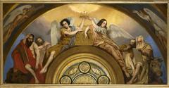 Esquisse pour l'église Saint-Louis-en-l'Ile : Les Reliques de la Passion - Deux anges et les quatre Evangélistes