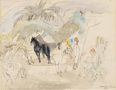 Figures and Two Horses in Landscape