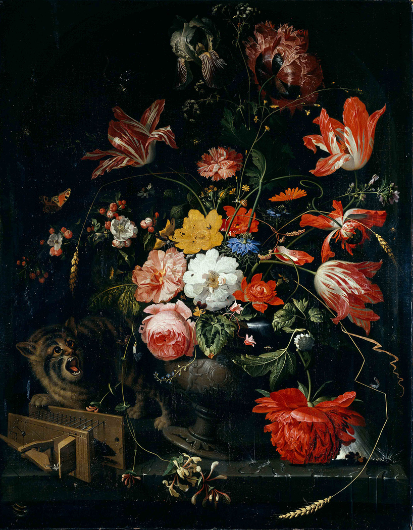 Flower piece with cat and mousetrap