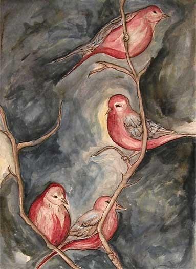 Four pink birds