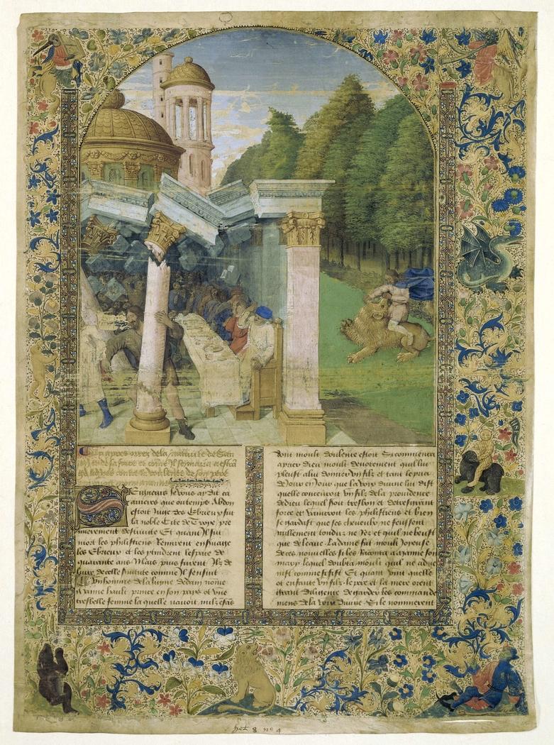 Fragment van een Historiebijbel: twee scènes uit het leven van Samson
