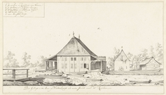 Gezicht op molen en kookhuis op een plantage te Suriname