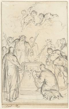 Heidense priesters offeren op een altaar