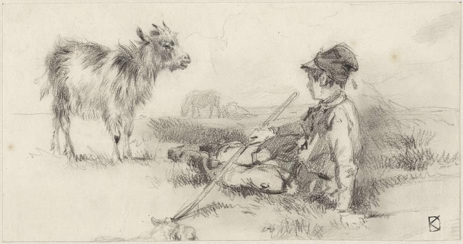 Herdersjongen in het gras gezeten, met tegenover hem een geit