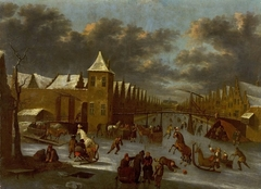 Ice skating over frozen canal