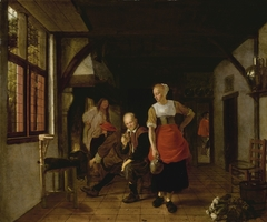 Interior with a Maid holding a Jug and Three Men by the Fire