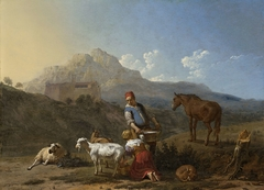 Italian Landscape with Girl Milking a Goat