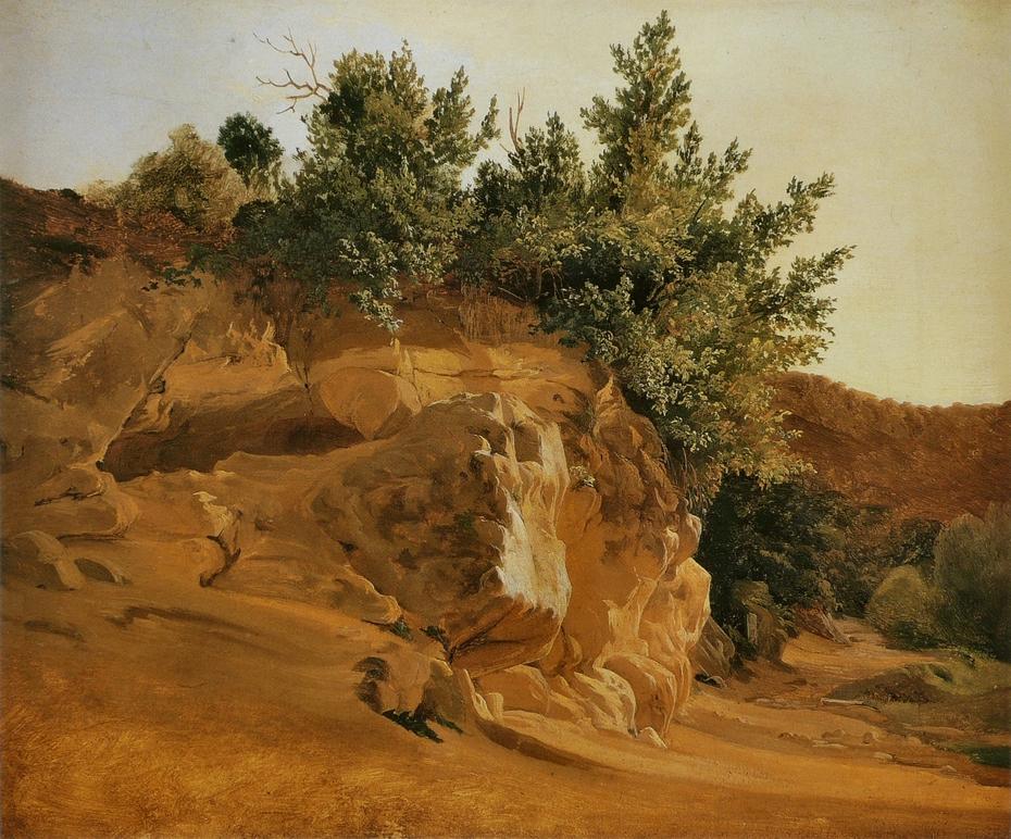 Italian Mountain Landscape with Overgrown Rock, probably near Olevano
