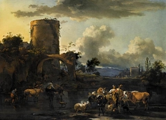 Italianate Landscape with Herders and their Cattle by a River