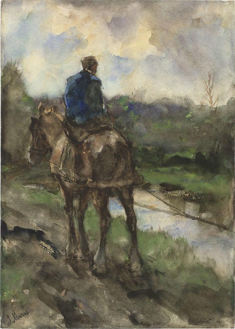 Jager te paard op het jaagpad