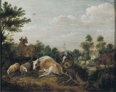 Koeien en schapen in landschap