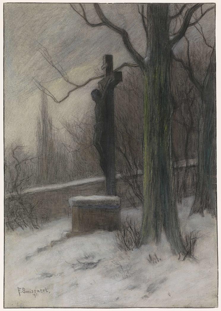 Kruisbeeld in een besneeuwd bos