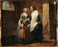 L'Abbé de Catéchisme recevant un enfant amené par sa sœur
