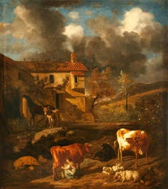 Landscape with a Milkmaid milking a Cow, a Farm Dwelling, Cows, Sheep, and a Donkey